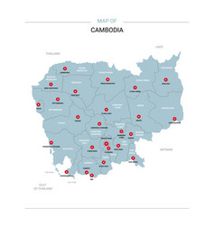 Cambodia map with red pin vector