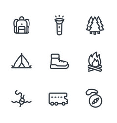 camping hiking icons set in linear style on white vector image