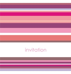Card or invitation with pink violet strips vector image