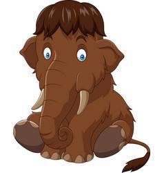 cartoon baby mammoth sitting vector image