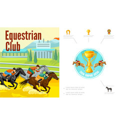 cartoon equestrian sport composition vector image