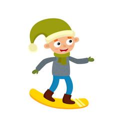 cartoon teenaged boy with snowboard cartoon vector image