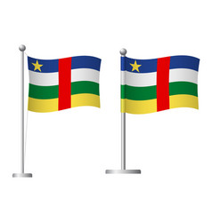 central african republic flag on pole icon vector image