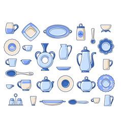 Ceramic crockery sketch icons set vector