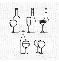 champagne set bottles with cups vector image
