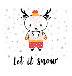 christmas card with cute little deer funny winter vector image