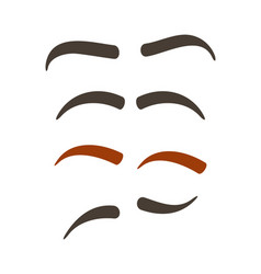 Comic eyebrow expression set vector