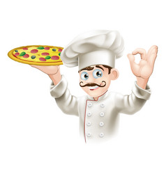 Cook holding a tasty pizza vector