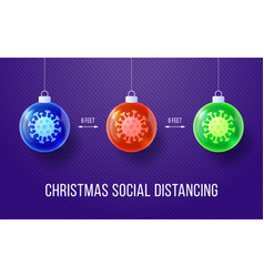 covid-19 keep social distance merry christmas vector image