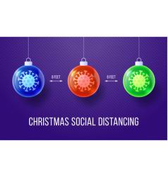Covid19-19 keep social distance merry christmas vector