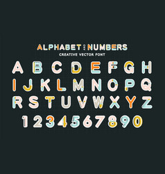 creative font alphabet and numbersmodern vector image