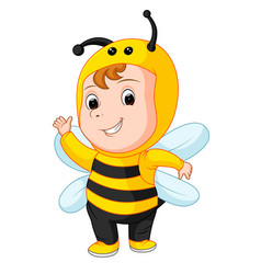 Cute baby wearing a bee suit vector