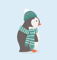 cute penguin with green hat and scarf vector image