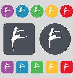 Dance girl ballet ballerina icon sign A set of 12 vector