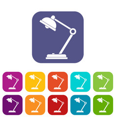 Desk lamp icons set flat vector