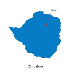 Detailed map of Zimbabwe and capital city Harare vector