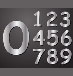 digits in silver from 0 to 9 vector image