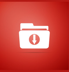 download arrow with folder icon on red background vector image