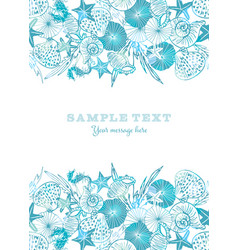 Elegant white and blue seahorse starfish vector