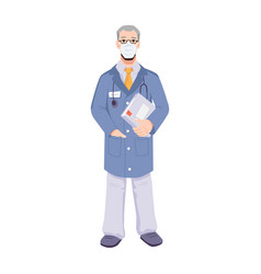 Experienced doctor in mask with folder in hands vector