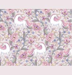 floral beige unicorns vector image