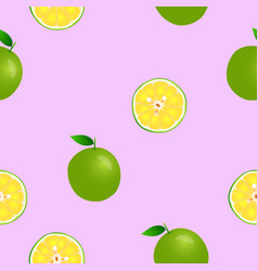 fresh lemon collection seamless background vector image