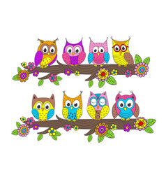 funny owls on branch vector image