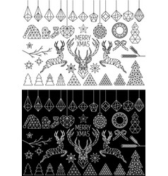 Geometric christmas set vector