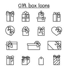 gift box present reward icon set in thin line vector image