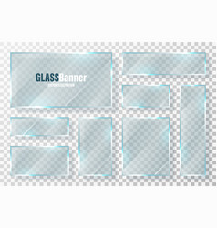 Glass frames collection realistic transparent vector