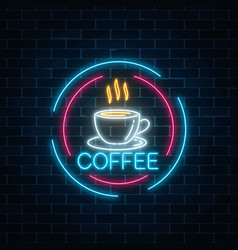 Glowing neon coffee cup icon in circle frames vector