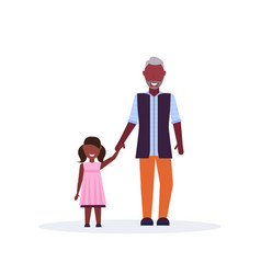 grandfather and granddaughter standing together vector image