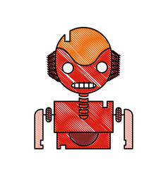 Grated robot face with technology chest design vector