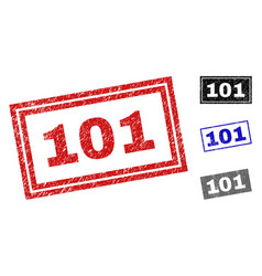 grunge 101 scratched rectangle stamps vector image