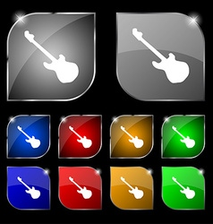 Guitar icon sign Set of ten colorful buttons with vector image