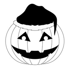 halloween pumpkin with a christmas hat icon vector image