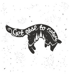 hand drawn typographic with jumping fox vector image