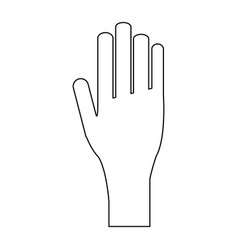 hand with palm open black and white vector image