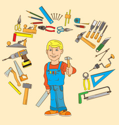 Handyman and set of hand tools for productive work vector