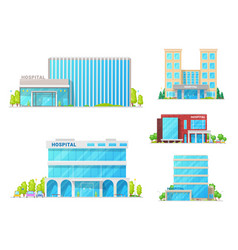 Hospitals medical clinic and ambulance buildings vector