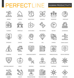 Human productivity thin line web icons set task vector