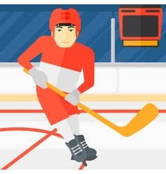 Ice-hockey player with stick vector image