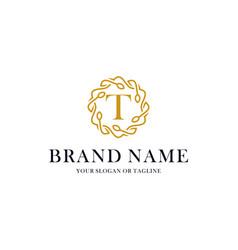 Initial letter t luxury ornament logo design vector