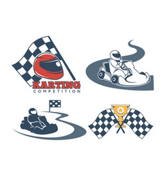 karting promo emblems with driver in helmet and vector image