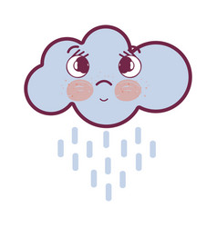 Kawaii thinking cloud raining with eyes and cheeks vector