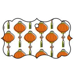 label classic lantern decoration pattern vector image
