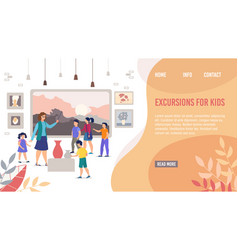 Landing page offer kids excursions in art museum vector