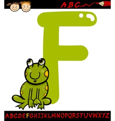 Letter f for frog cartoon vector