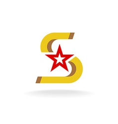 Letter S with star in a center logo vector