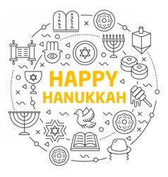 lines icons happy hanukkah vector image